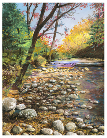 Fall Creek, Original pastel painting by the fine artist Eric Soller