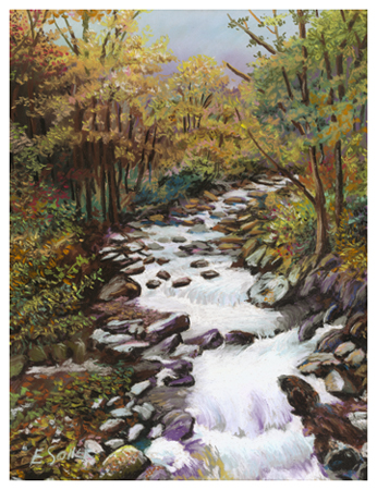 Fall Stream, Original pastel painting by the fine artist Eric Soller
