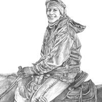 Afternoon Ride - Original graphite drawing by Eric Soller