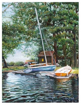 Resting Boats, Original oil painting by the fine artist Eric Soller