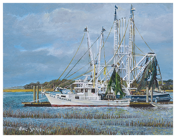 Sea Trawler, Original oil painting by the fine artist Eric Soller