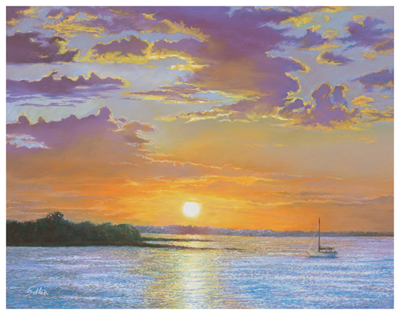 Beaufort Sunrise, Original pastel painting by the fine artist Eric Soller