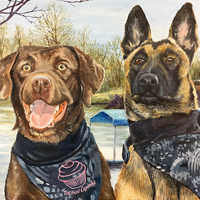 Thea and Turbo - Original oil painting by Eric Soller