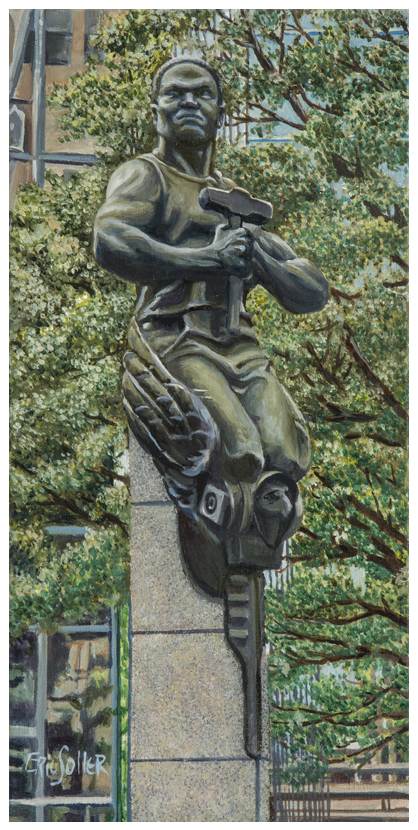 Transportation Statue, Original oil painting by Eric Soller