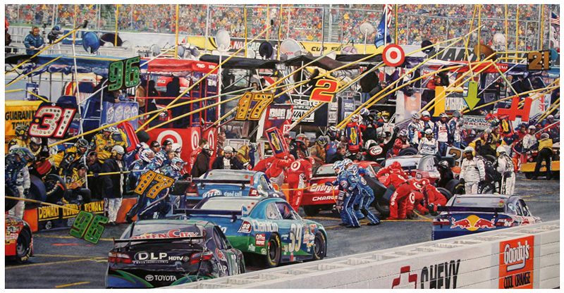 Martinsville Pits, Original gouache painting by Eric Soller